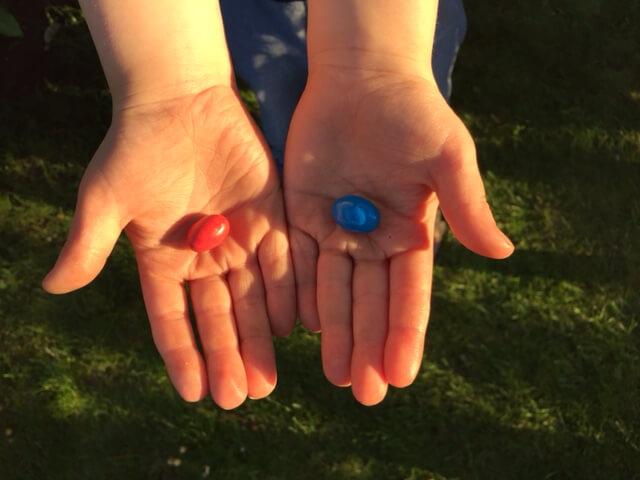 Rote : Blaube Pille